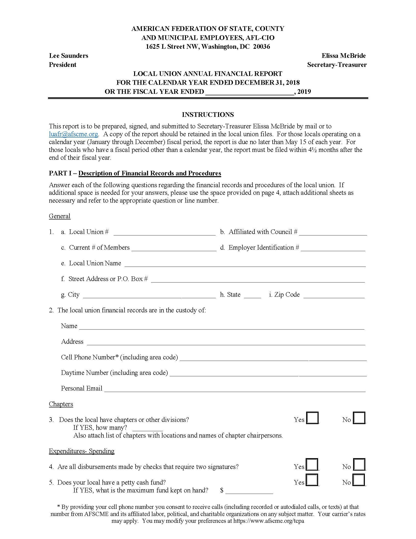 Local Union Annual Financial Report Form — Fillable Version