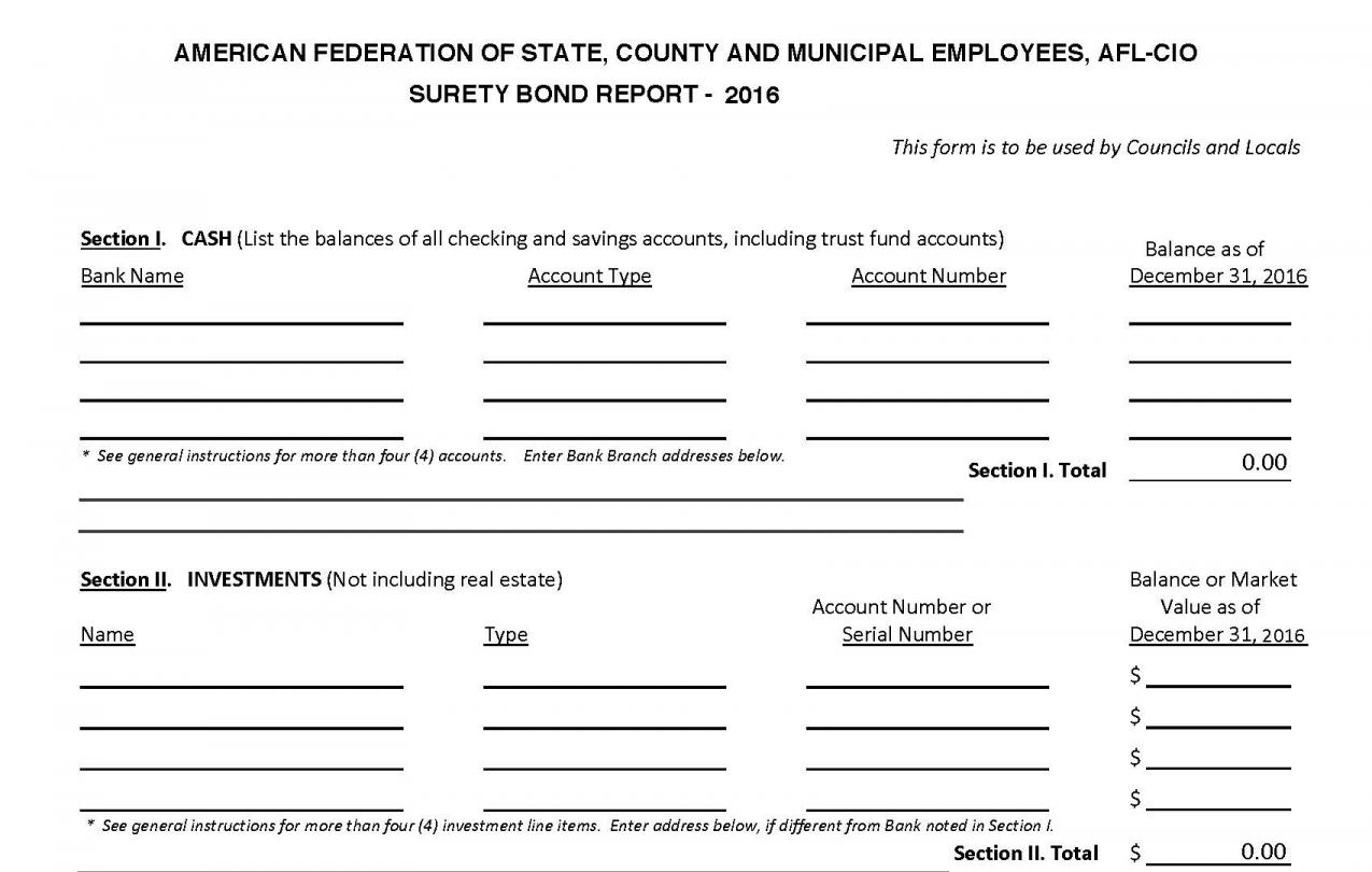 Surety Bond Form with Instructions