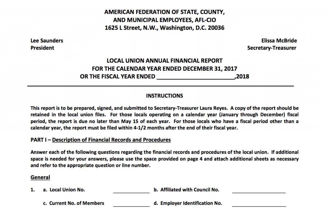 local union annual financial report form secretary treasurer