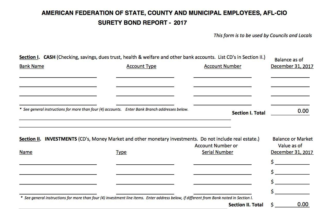 Surety bond form for locals and councils