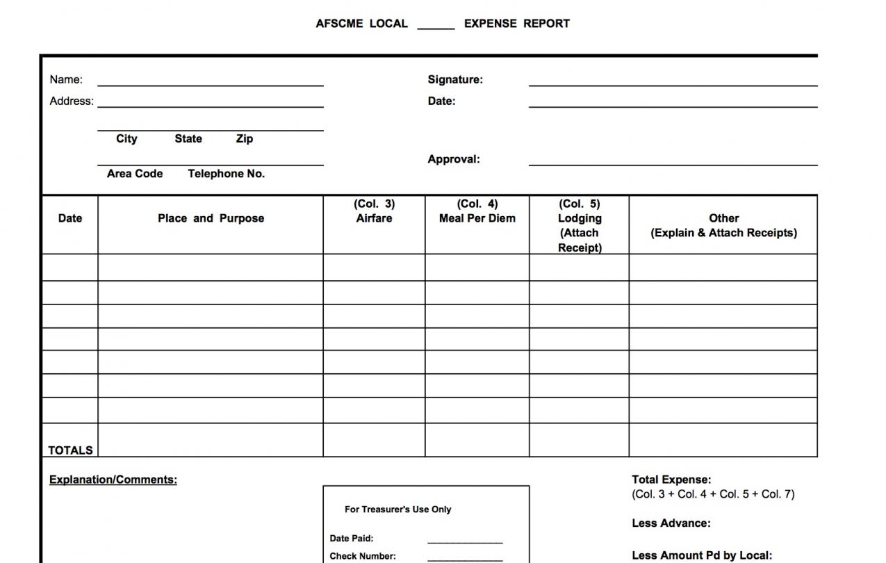 sample expense report airfare secretary treasurer online