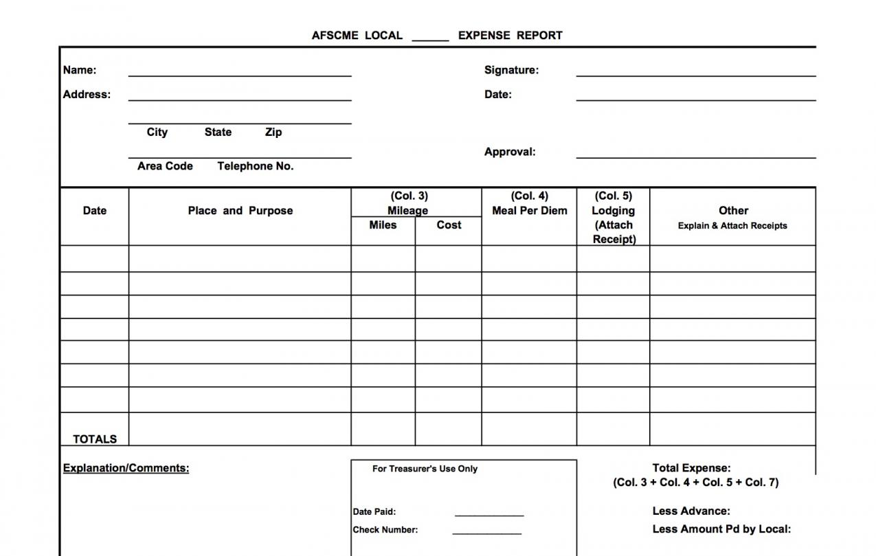 Sample Expense Report — Mileage | Secretary-Treasurer Online ...